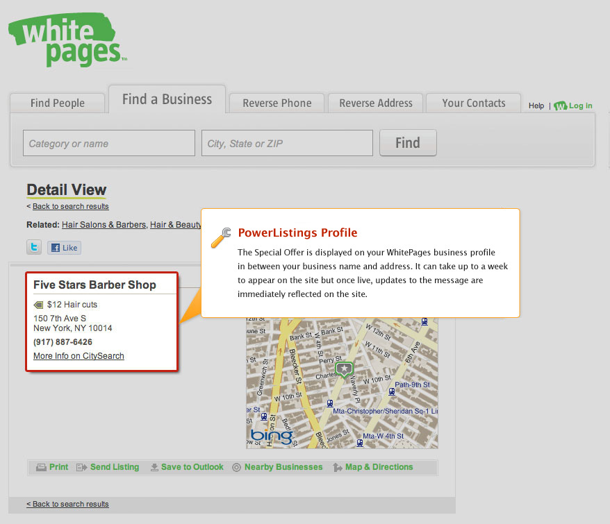 PowerListings Live on WhitePages