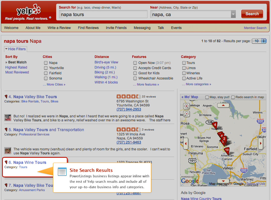 PowerListings Live on Yelp